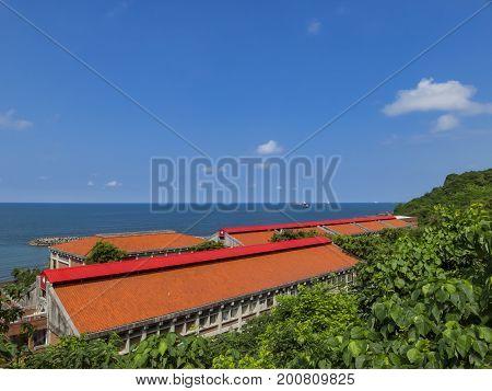 Orange Roof, Ocean And Blue Sky At Si Zih Wan