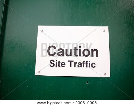 White Placard Warning Caution Site Traffic Construction
