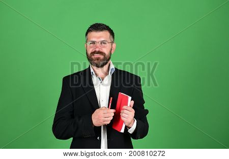 Professor With Smiling Face. Man With Beard And Book