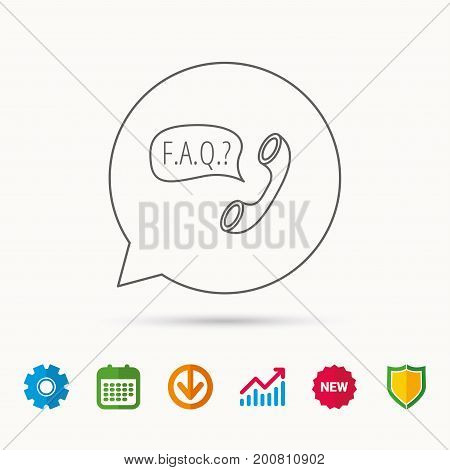 FAQ service icon. Support speech bubble sign. Phone symbol. Calendar, Graph chart and Cogwheel signs. Download and Shield web icons. Vector