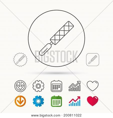 File tool icon. Carpenter equipment sign. Calendar, Graph chart and Cogwheel signs. Download and Heart love linear web icons. Vector