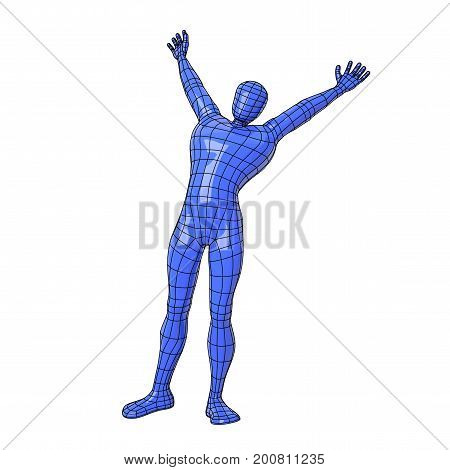 Wireframe Human Figure Stretching On The Morning With Happiness And Opening His Arms