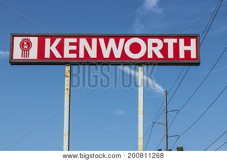 Ft. Wayne - Circa August 2017: Signage and Logo of a Kenworth Big Rig Semi Tractor Trailer Dealership. Kenworth is a division of PACCAR