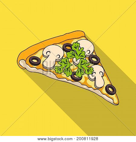 A slice of pizza with different ingredients. Different pizza single icon in flat style vector symbol stock illustration .