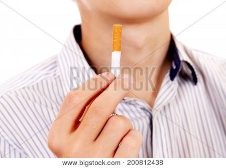 Person hold a Cigarette Isolated on the White closeup