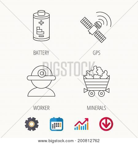 Worker, minerals and GPS satellite icons. Battery linear sign. Calendar, Graph chart and Cogwheel signs. Download colored web icon. Vector