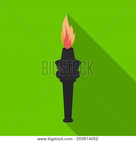 Street lamp in the form of a torch with an open fire.Lamppost single icon in flat style vector symbol stock illustration .