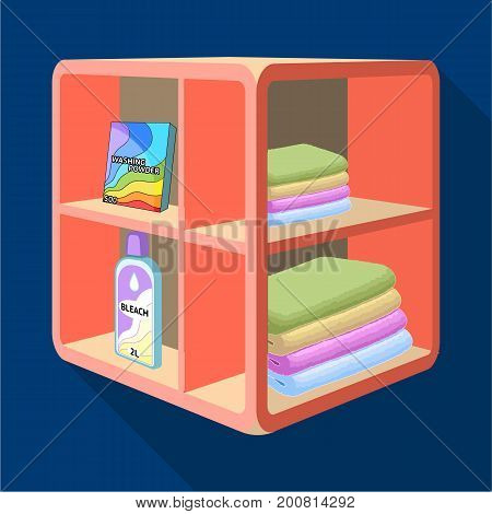 A rack in the bathroom for laundry and detergents. Furniture single icon in flat style Isometric vector symbol stock illustration .