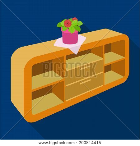 Chest, shelving with shelves and flower. Furniture and interior single icon in flat style Isometric vector symbol stock illustration .