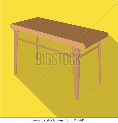 Wooden, dining table. Furniture and interior single icon in flat style Isometric vector symbol stock illustration .