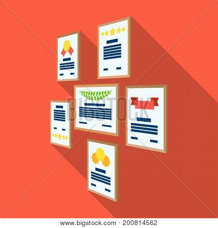 Certificate, diploma and license in a frame on the office wall. Office and interior single icon in flat style Isometric vector symbol stock illustration .