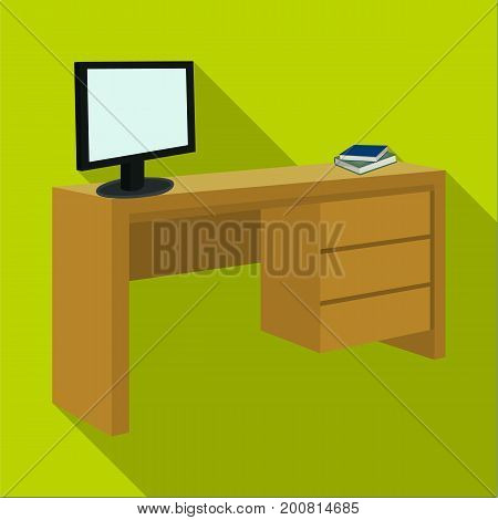 A desk with a computer and books. Furniture and interior single icon in flat style Isometric vector symbol stock illustration .