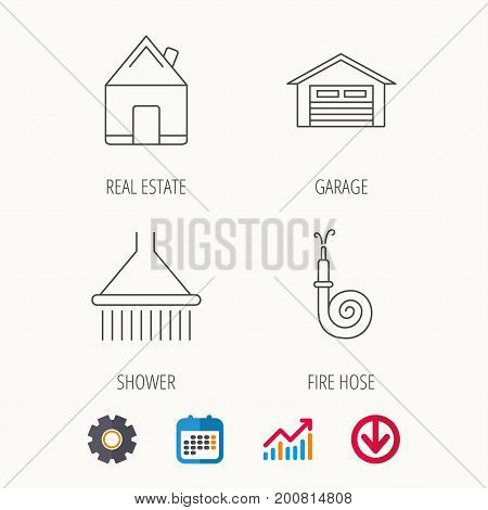 Real estate, garage and shower icons. Fire hose linear sign. Calendar, Graph chart and Cogwheel signs. Download colored web icon. Vector