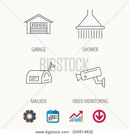Mailbox, video monitoring and garage icons. Shower linear sign. Calendar, Graph chart and Cogwheel signs. Download colored web icon. Vector