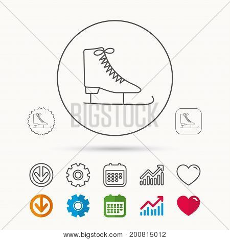 Ice skates icon. Figure skating equipment sign. Professional winter sport symbol. Calendar, Graph chart and Cogwheel signs. Download and Heart love linear web icons. Vector