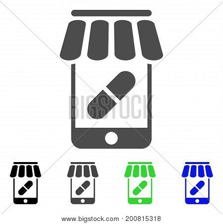 Online Pharmacy flat vector illustration. Colored online pharmacy, gray, black, blue, green icon variants. Flat icon style for graphic design.