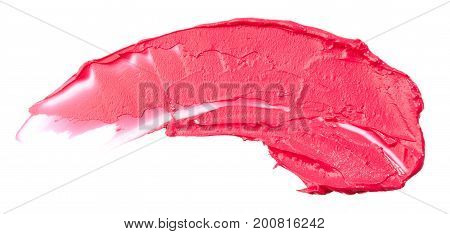 Smudged lipstick isolated on the white background