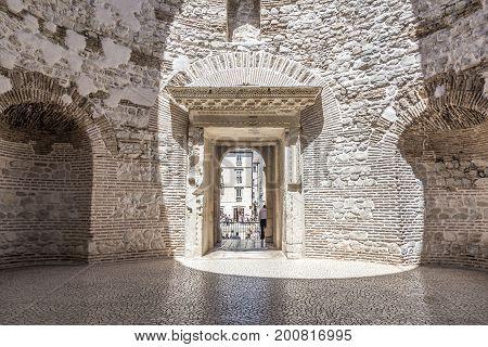 SPLIT, CROATIA - JULY 12, 2017: Ancient ruins on the streets of Split in Croatia.