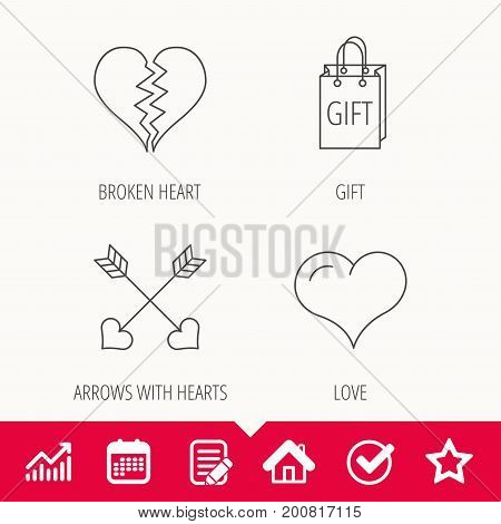 Love heart, gift box and arrows icons. Broken heart or divorce linear signs. Edit document, Calendar and Graph chart signs. Star, Check and House web icons. Vector