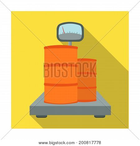 Weighing the load on the scales. Shipping and accounting single icon in flat style isometric vector symbol stock illustration .