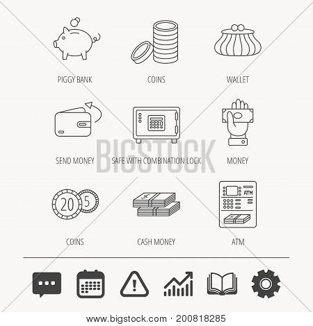 Piggy bank, cash money and wallet icons. Safe box, send money and dollar usd linear signs. Give money, coins and ATM icons. Education book, Graph chart and Chat signs. Vector