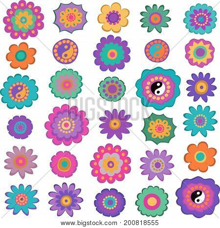 Set of colorful hippie flowers, retro 60s style. Flat design elements.Vector.