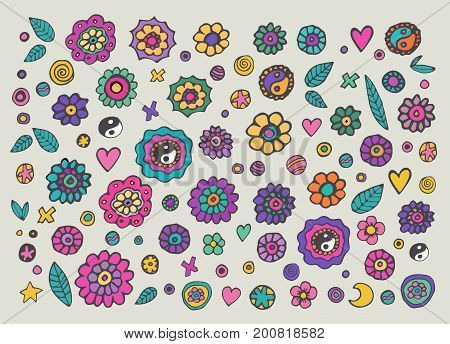 Set of colorful hippie flowers, retro 60s style. Hand drawn design elements.Vector.