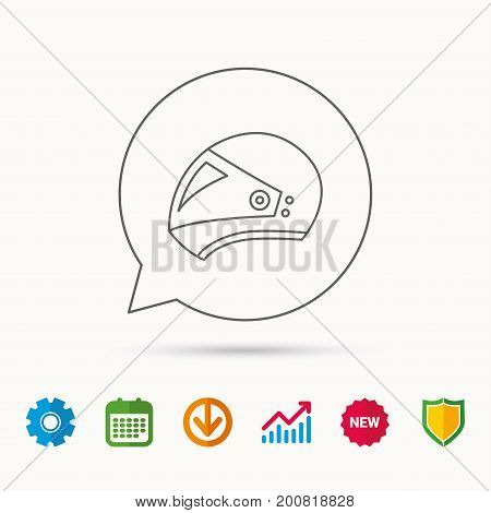 Motorcycle helmet icon. Biking sport sign. Calendar, Graph chart and Cogwheel signs. Download and Shield web icons. Vector