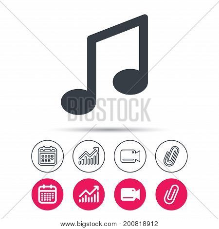 Music icon. Musical note sign. Melody symbol. Statistics chart, calendar and video camera signs. Attachment clip web icons. Vector