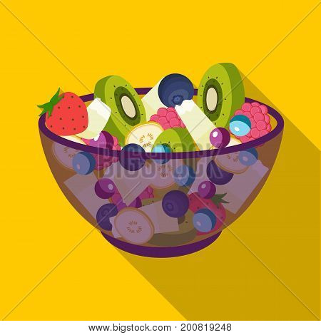 Salad from various kinds of fruit. Fruit single icon in flat style vector symbol stock illustration .