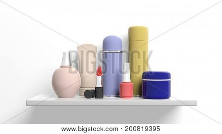 Group of personal care products packages on white background. 3d illustration