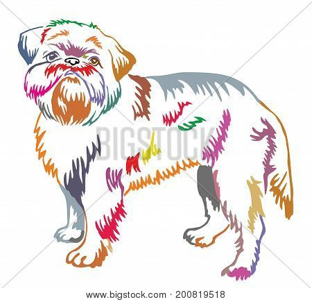 Colorful decorative portrait of standing in profile dog Brussels Griffon vector isolated illustration on white background