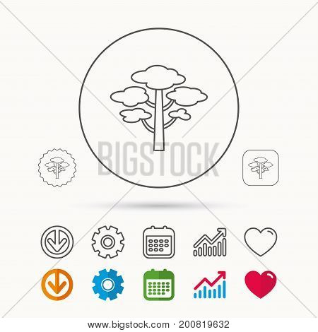 Pine tree icon. Forest wood sign. Nature environment symbol. Calendar, Graph chart and Cogwheel signs. Download and Heart love linear web icons. Vector