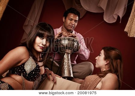 Beautiful Belly Dancers With Tabla Player