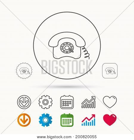 Retro phone icon. Old telephone sign. Calendar, Graph chart and Cogwheel signs. Download and Heart love linear web icons. Vector
