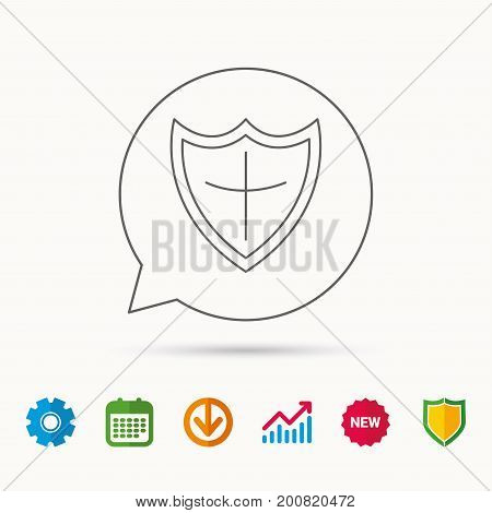 Shield icon. Protection sign. Royal defence symbol. Calendar, Graph chart and Cogwheel signs. Download and Shield web icons. Vector