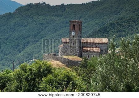 Ceserana And The Medieval Fortress, Garfagnana, Tuscany, Italy