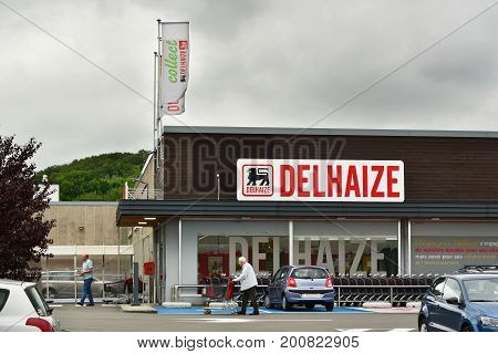 HERSTAL, BELGIUM - AUGUST17, 2017: Delhaize supermarket, part of Delhaize Group, an international food retailer, Merged with Ahold to Ahold Delhaize NV.