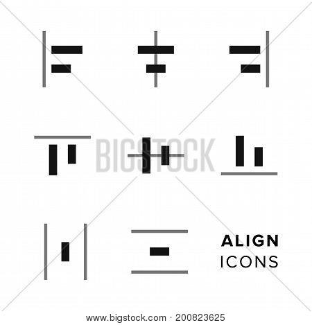 Set of align elements icons for toolbar or website design
