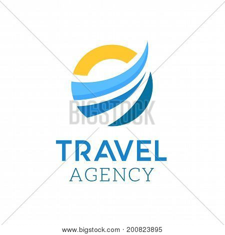 Abstract vector logo for travel agency. Logo template for business company. Summer beach symbol