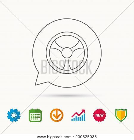 Steering wheel icon. Car drive control sign. Calendar, Graph chart and Cogwheel signs. Download and Shield web icons. Vector