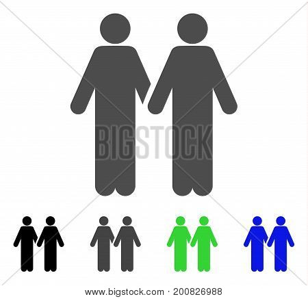Adult Friends flat vector illustration. Colored adult friends, gray, black, blue, green pictogram versions. Flat icon style for graphic design.