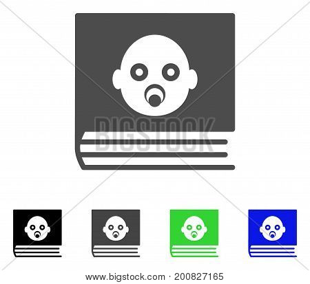 Baby Album flat vector illustration. Colored baby album, gray, black, blue, green pictogram versions. Flat icon style for application design.