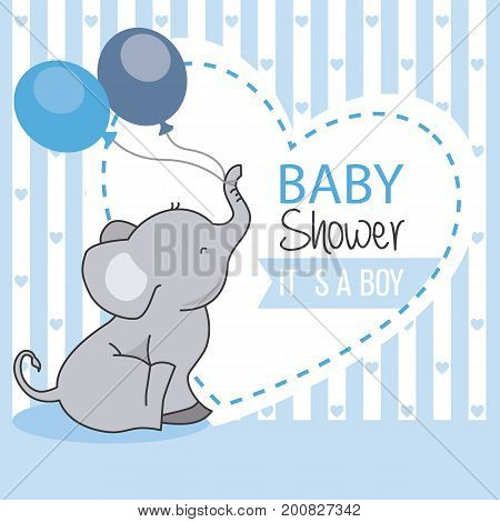 baby shower boy. Elephant with two balloons