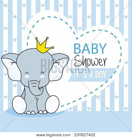 baby shower boy. Cute Elephant with crown