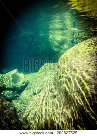 Underwater photography of river Gorges du Verdon, France.