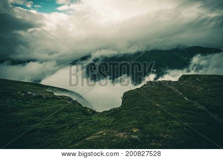Cloudy Raw Norway Landscape. Norwegian Weather and Geology.