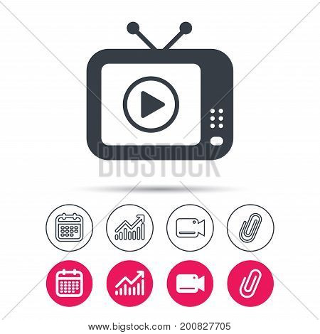 TV icon. Retro television symbol. Statistics chart, calendar and video camera signs. Attachment clip web icons. Vector