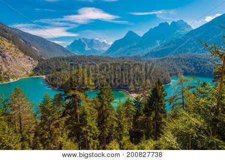 The Blindsee Mountain Lake Below the Fernpasses in Tyrol Region of Austria Europe.
