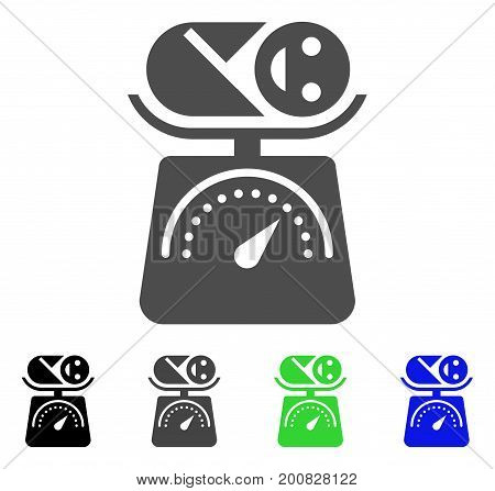 Baby Weight flat vector pictograph. Colored baby weight, gray, black, blue, green pictogram versions. Flat icon style for graphic design.